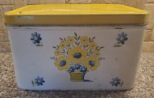 Vintage DECOWARE Vented Large Metal Bread Box White/Floral Yellow Hinged Lid