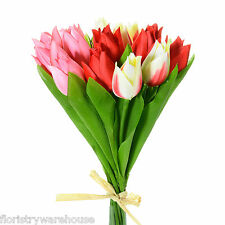Artificial silk Tulip posy cream, pink & red 15 stems of small Tulips bunch 24cm