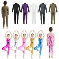 Kids Girls Gymnastics Ballet Dance Leotard Jumpsuits Training Dancewear Bodysuit