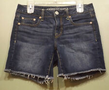 American Eagle Dark Wash Raw Hem Midi Denim Shorts Womens Size 2