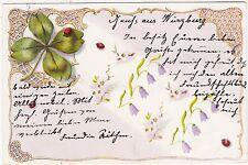 FOUR LEAF CLOVER - Ladybirds - sent to Schiltach / Germany - 1900 used postcard