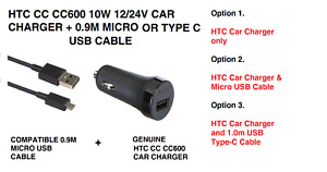 HTC CC C600 12/24v 10W Car Charger & Micro USB Cable or C-Type for HTC Phones