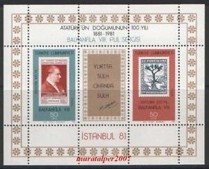 TURKEY 1981, BALKANFILA VIII STAMP EXHIBITION ( ATATURK ) BLOCK MNH
