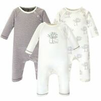 Touched By Nature Organic Cotton Coveralls, Birch Tree, 3-Pack