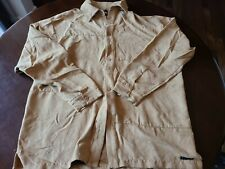 Vtg Men's Syllables System Brown Micro Fiber Xl Shirt, Need Sew Button Provided