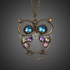 Vintage Lady Rhinestone Crystal Owl Jewelery Pendant Long Sweater Necklace Chain