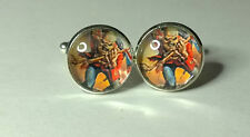Maiden, The Trooper inspired , Glass Domed Eddie cufflinks
