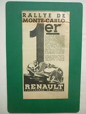 2/1935 PUB RENAULT NERVASPORT RALLYE DE MONTE-CARLO LAHAYE QUATRESOUS AD