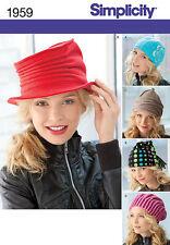 "Simplicity Sewing Pattern 1959 Misses Fleece Hats Size 21-23"" Uncut Fashion"