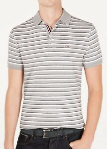 Tommy Hilfiger Men's Denim Grey Murray Stripe Custom Fit Short Sleeve Polo Shirt