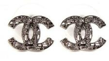 Chanel Silver Tweed Lattice Cutout Cc Logo Classic Stud Earrings with receipt