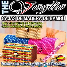 Joyero Caja de Madera Cortina de Bambú y Cierre  Wooden Box Bamboo Jewelry Maker