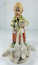 Vintage Signed TIZIANO GALLI Made Italy Porcelain GIRL with GEESE