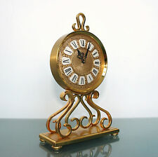 IMHOF Clock SWISS 15 JEWELS! Gilded Vintage 8 days Switzerland Desk/Mantel/Shelf