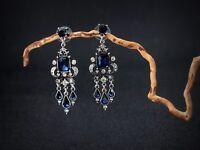 Boucles d`Oreilles Clous Argenté Chandelier Bleu Saphir Mariage Retro Class B10