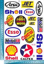 1 sh. jet shell esso mobil 1 arai helmet oil racing decal sticker vinyl die cut