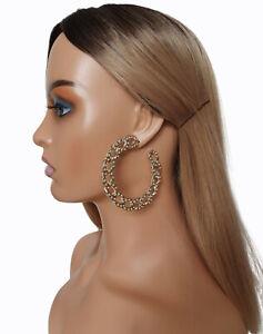 7.5cm ACRYLIC chunky chain C shaped hoop earrings - Diamante EFFECT pattern