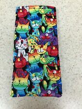 Eyeglass / Sunglass Soft  Fabric Case - Assorted Cats on Black Background