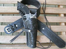 "Gun Belt Combo - .22 Caliber - Tooled Holster - Black - Leather - 34"" to 52"""