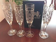 Set of 4 RALPH LAUREN Aston  Crystal Champagne Wine Glasses Flutes New In Box