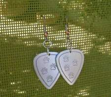 aluminum guitar pick earrings with paw prints