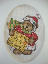 """COMPLETED FINISHED CROSS STITCH CARD ''CHRISTMAS BEAR"""""""
