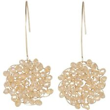 NEW Long Goldtone Fish Hook & Wired Champagne Crystal Bead Cluster Drop Earrings