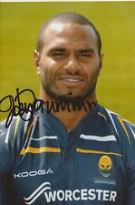 WORCESTER WARRIORS RUGBY UNION * JOSH DRAUNINIU SIGNED 6x4 PORTRAIT PHOTO+COA