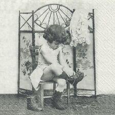 4 Single paper decoupage napkins. Vintage girl in garden design -226