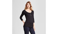 TARGET Isabel Maternity Black Ribbed Nursing Henley Long Sleeve sz M Medium NEW