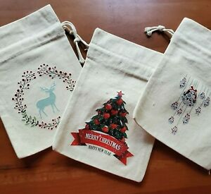 Christmas Gift Bags Cloth Holiday Wrapping Fabric Cotton Drawstring Set of 3