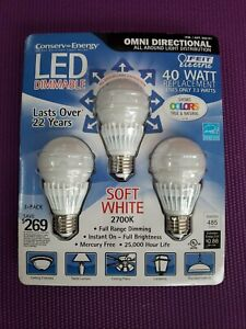 Feit Electric Conserv-Energy LED Dimmable 40 Watt Replacement Light Bulbs 3 Pack