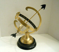 "Armillary Brass Sphere Sundial Globe On Black Stand 14"" Tall Roman Numerals"