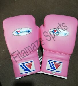 New Custom Boxing Gloves  Lace Up Pro Type Training 16 oz Pink