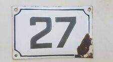 Enamel porcelain number 27 street house sign # 27 vintage