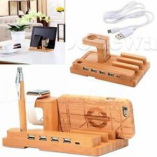 Bamboo Charging Dock Station Charger Holder Stand For iWatch iPhone IPad Device