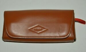 Nice Soft Leather Brown FOSSIL Brand Magnetic Closure Sunglasses Eyeglasses CASE
