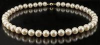Feine Zuchtperlenkette cremefarben Perlen Ø 9,4 - 10,5 mm Schließe Gold 585