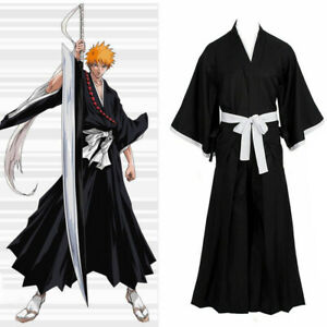 Bleach Kurosaki Ichigo Robe Cloak Coat Mask Anime Cosplay For Halloween Costume