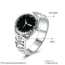 Mens Creative Wholesale Ring Silver Plated Watch Rings Dial Quartz Analog