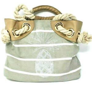 Tommy Bahama Pineapple Shore Handbag Purse Beige Gray Leather Trim Brass Tone