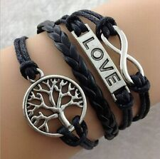 DIY Hot Infinity Love Anchor Leather Cute Charm Bracelet plated Silver SL120F