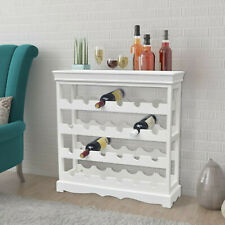 Open Wine Cabinet with 4 Shelves Top Tray Wines Holder Storage Organiser White