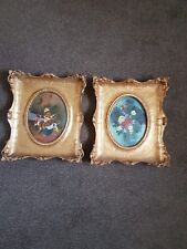 More details for pair of antique floral oil paintings in guilt frames