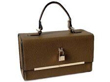 TAUPE HANDBAG WITH PADLOCK, HARDBACK BOX SHOULDER BAG, LONG SHOULDER STRAP