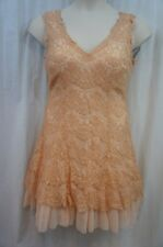 Betsy & Adam Dress Sz 10 Peach Gold Lace Sleeveless a Line Tulle Cocktail Dress