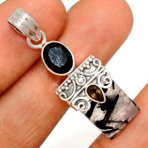 Black Tourmaline In Quartz & Black Onyx 925 Silver Pendant BP81024 266H