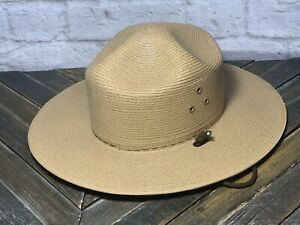 Stratton campaign hat 6 5/8 tan straw ranger trooper state police sheriff Oval