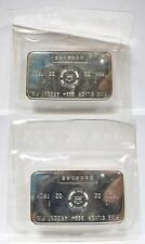 (2) Royal Canadian Mint 1 oz .999 Silver Bars Consecutive Serial #s D006185 & 86