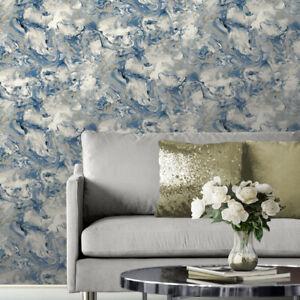 Muriva Elixir Liquid Marble Wallpaper Metallic Blue Gold Shimmer Swirl Feature
